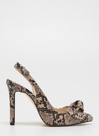D by Divarese Yılan Desenli Topuklu Ayakkabı Bej